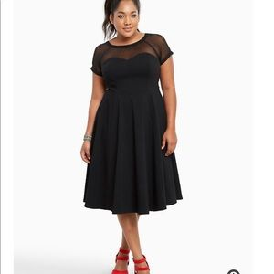 Black Mesh Inset Swing Dress
